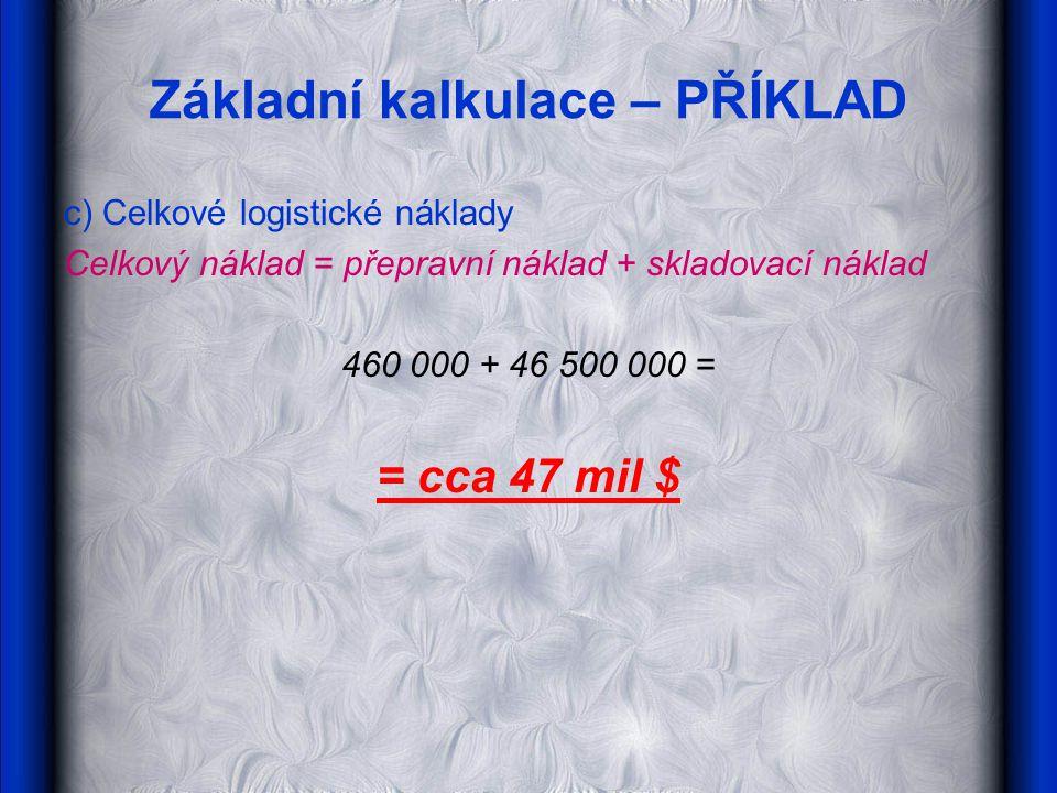 Základní kalkulace – PŘÍKLAD c) Celkové logistické náklady Celkový náklad = přepravní náklad + skladovací náklad 460 000 + 46 500 000 = = cca 47 mil $