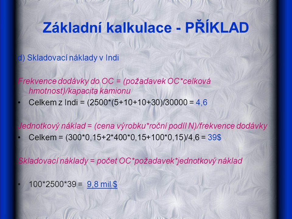 Základní kalkulace - PŘÍKLAD d) Skladovací náklady v Indi Frekvence dodávky do OC = (požadavek OC*celková hmotnost)/kapacita kamionu Celkem z Indi = (2500*(5+10+10+30)/30000 = 4,6 Jednotkový náklad = (cena výrobku*roční podíl N)/frekvence dodávky Celkem = (300*0,15+2*400*0,15+100*0,15)/4,6 = 39$ Skladovací náklady = počet OC*požadavek*jednotkový náklad 100*2500*39 = 9,8 mil $