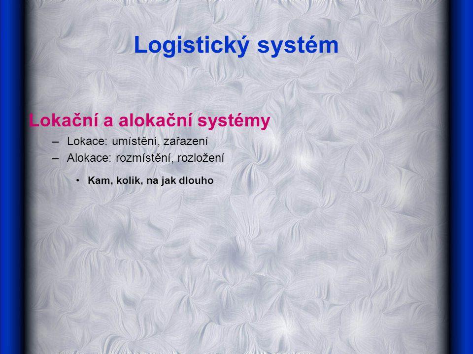 Logistický systém Lokační a alokační systémy –Lokace: umístění, zařazení –Alokace: rozmístění, rozložení Kam, kolik, na jak dlouho