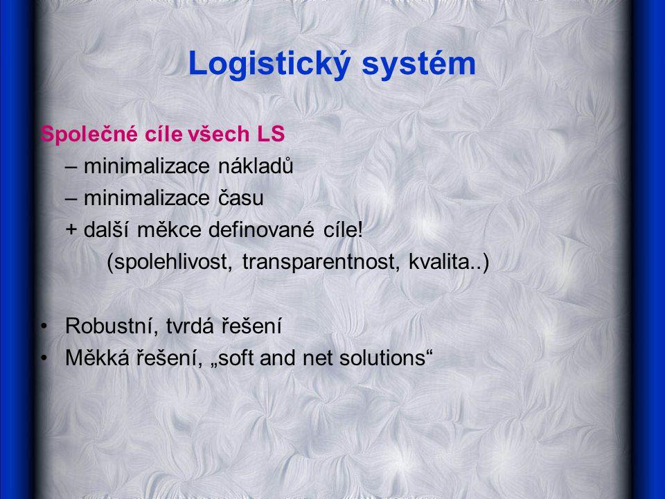 Logistický systém Společné cíle všech LS – minimalizace nákladů – minimalizace času + další měkce definované cíle.
