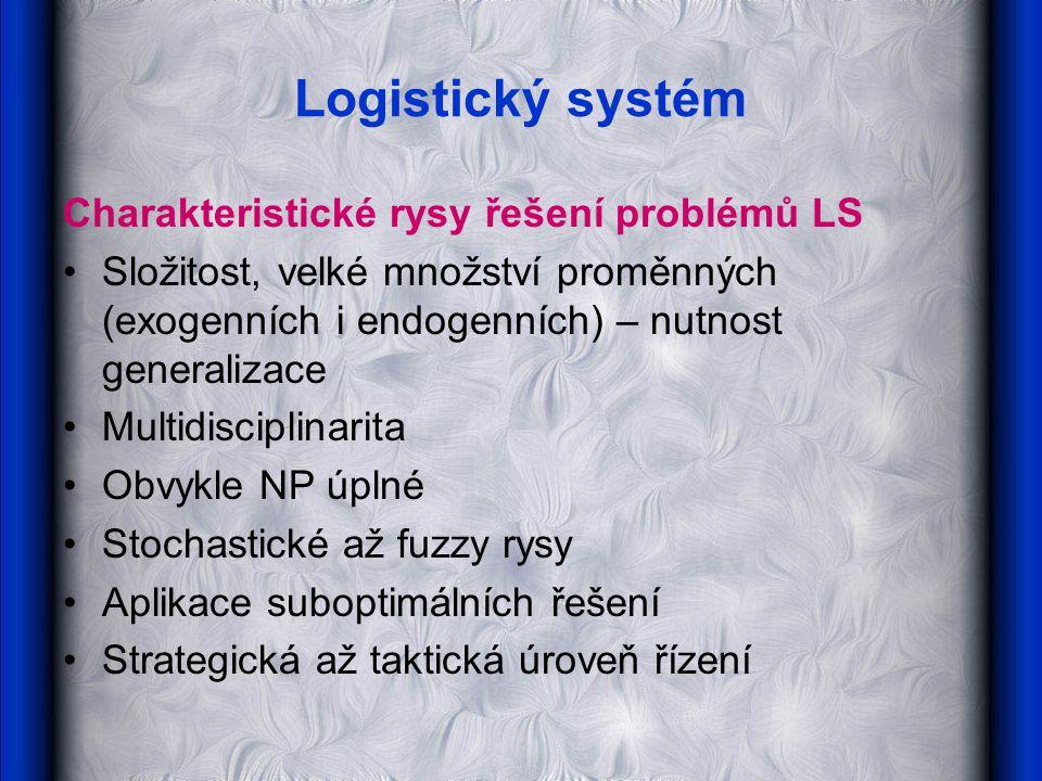 Logistický systém Charakteristické rysy řešení problémů LS Složitost, velké množství proměnných (exogenních i endogenních) – nutnost generalizace Multidisciplinarita Obvykle NP úplné Stochastické až fuzzy rysy Aplikace suboptimálních řešení Strategická až taktická úroveň řízení