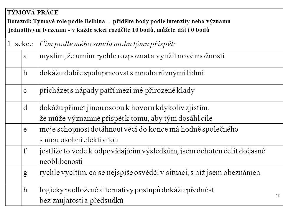 Týmová práce 10 TÝMOVÁ PRÁCE Dotazník Týmové role podle Belbina – přidělte body podle intenzity nebo významu jednotlivým tvrzením - v každé sekci rozd