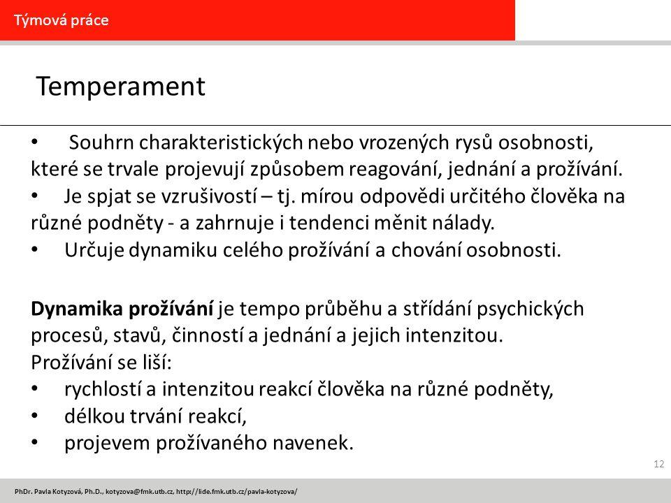 PhDr. Pavla Kotyzová, Ph.D., kotyzova@fmk.utb.cz, http://lide.fmk.utb.cz/pavla-kotyzova/ Temperament Týmová práce Souhrn charakteristických nebo vroze