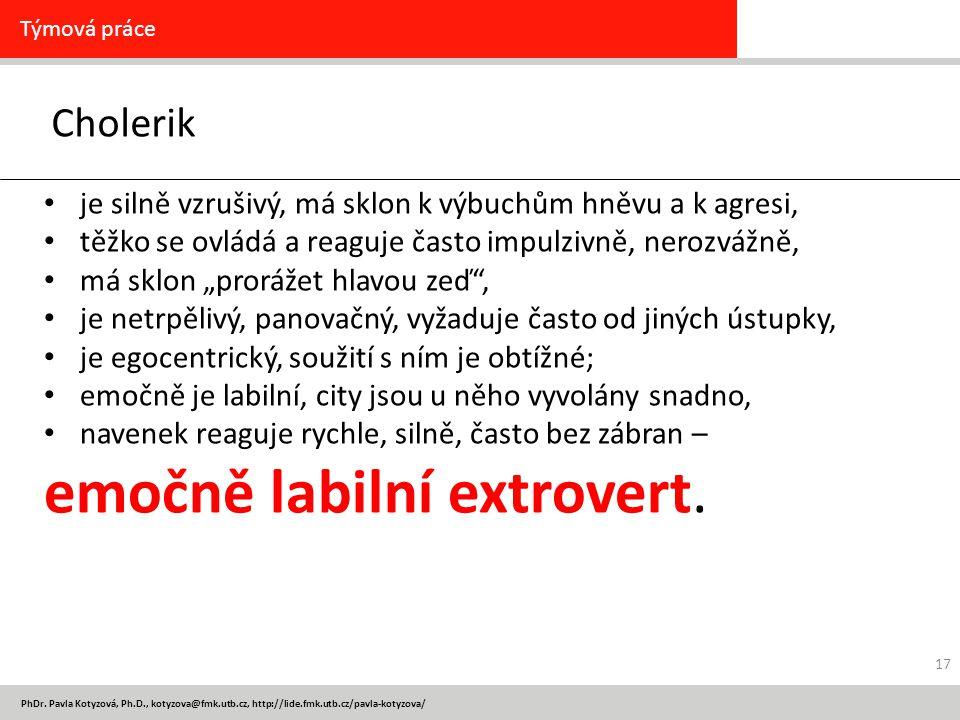 PhDr. Pavla Kotyzová, Ph.D., kotyzova@fmk.utb.cz, http://lide.fmk.utb.cz/pavla-kotyzova/ Cholerik Týmová práce je silně vzrušivý, má sklon k výbuchům