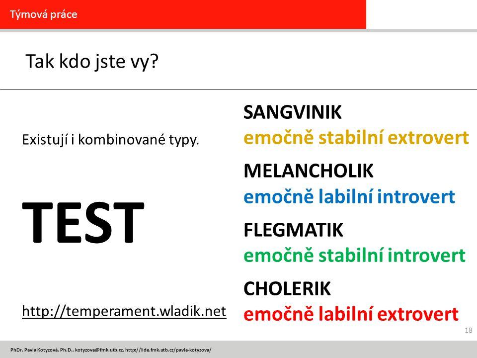 PhDr. Pavla Kotyzová, Ph.D., kotyzova@fmk.utb.cz, http://lide.fmk.utb.cz/pavla-kotyzova/ Tak kdo jste vy? Týmová práce Existují i kombinované typy. ht
