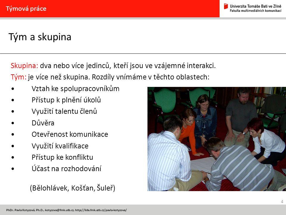 4 PhDr. Pavla Kotyzová, Ph.D., kotyzova@fmk.utb.cz, http://lide.fmk.utb.cz/pavla-kotyzova/ Tým a skupina Týmová práce Skupina: dva nebo více jedinců,