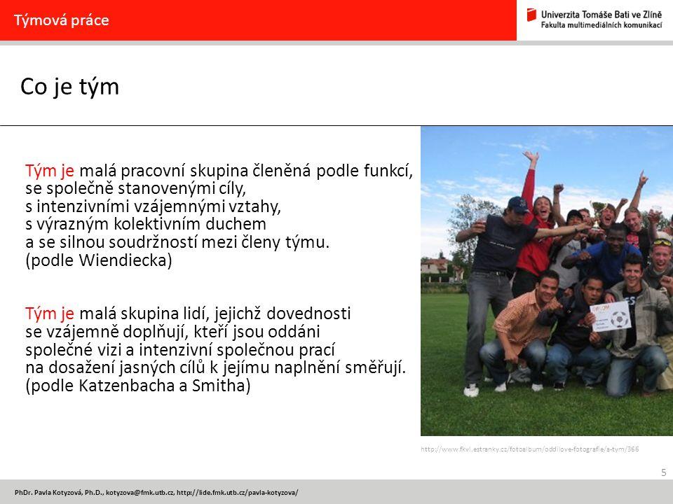 5 PhDr. Pavla Kotyzová, Ph.D., kotyzova@fmk.utb.cz, http://lide.fmk.utb.cz/pavla-kotyzova/ Co je tým Týmová práce Tým je malá pracovní skupina členěná