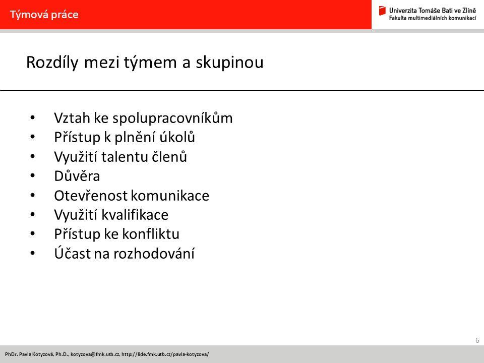 6 PhDr. Pavla Kotyzová, Ph.D., kotyzova@fmk.utb.cz, http://lide.fmk.utb.cz/pavla-kotyzova/ Rozdíly mezi týmem a skupinou Týmová práce Vztah ke spolupr