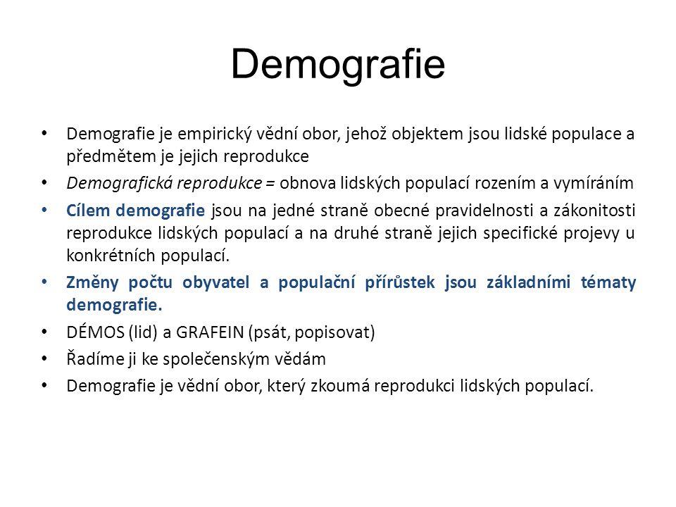 Demografie Demografie je empirický vědní obor, jehož objektem jsou lidské populace a předmětem je jejich reprodukce Demografická reprodukce = obnova l