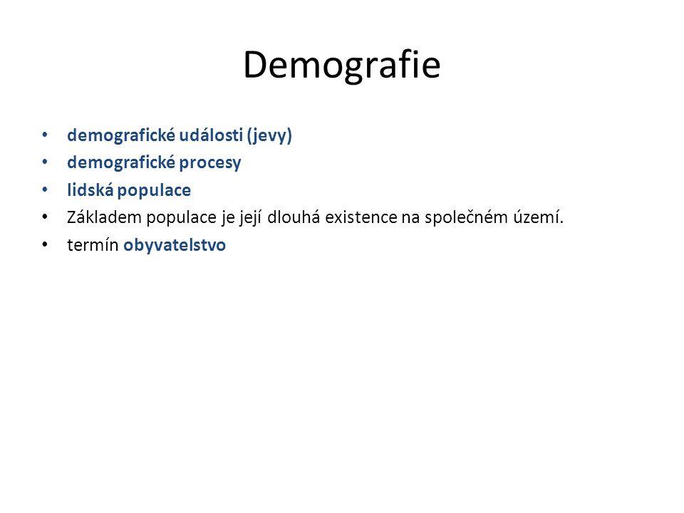 Demografie demografické události (jevy) demografické procesy lidská populace Základem populace je její dlouhá existence na společném území. termín oby