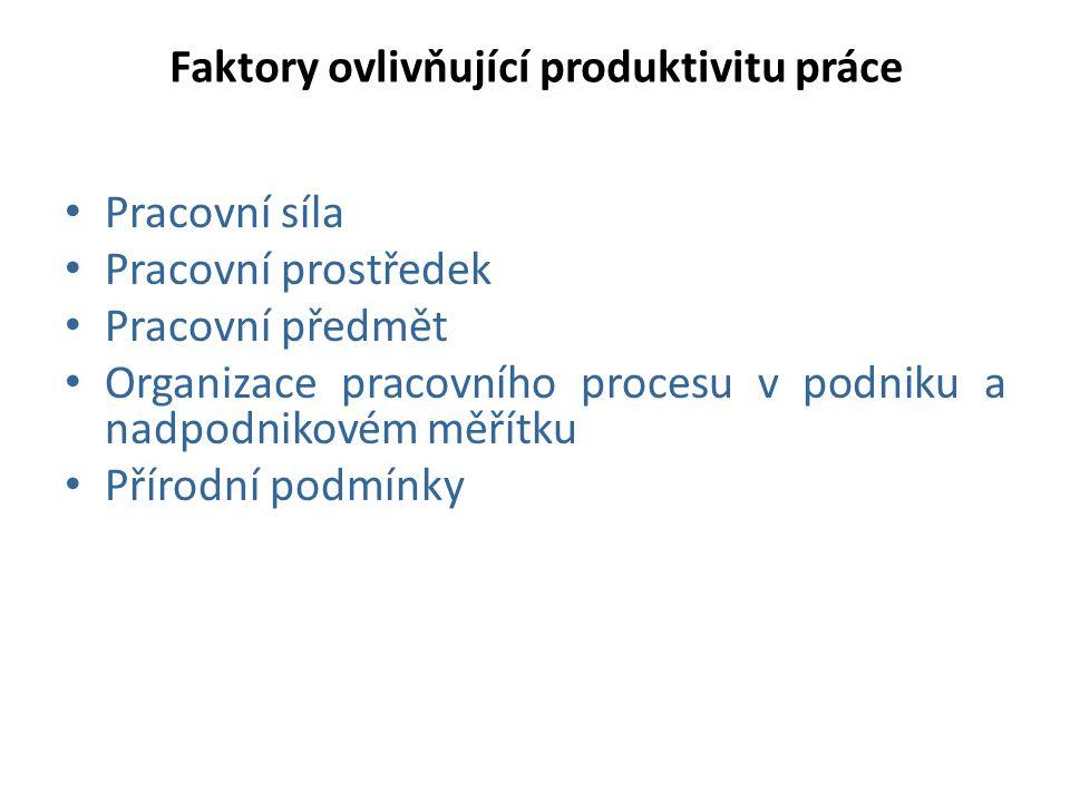 Faktory ovlivňující produktivitu práce Pracovní síla Pracovní prostředek Pracovní předmět Organizace pracovního procesu v podniku a nadpodnikovém měří