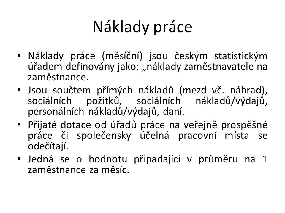 """Náklady práce Náklady práce (měsíční) jsou českým statistickým úřadem definovány jako: """"náklady zaměstnavatele na zaměstnance. Jsou součtem přímých ná"""
