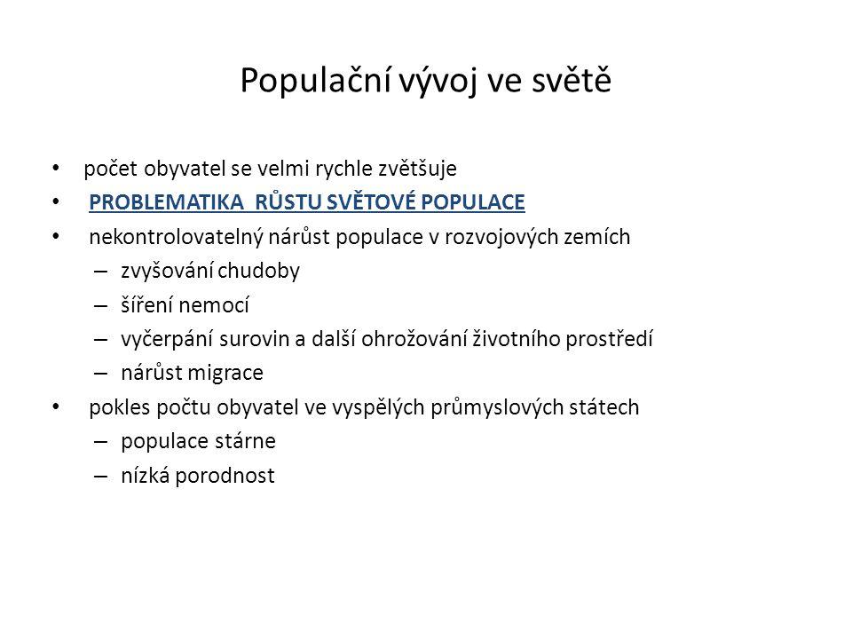Populační vývoj ve světě počet obyvatel se velmi rychle zvětšuje PROBLEMATIKA RŮSTU SVĚTOVÉ POPULACE nekontrolovatelný nárůst populace v rozvojových z