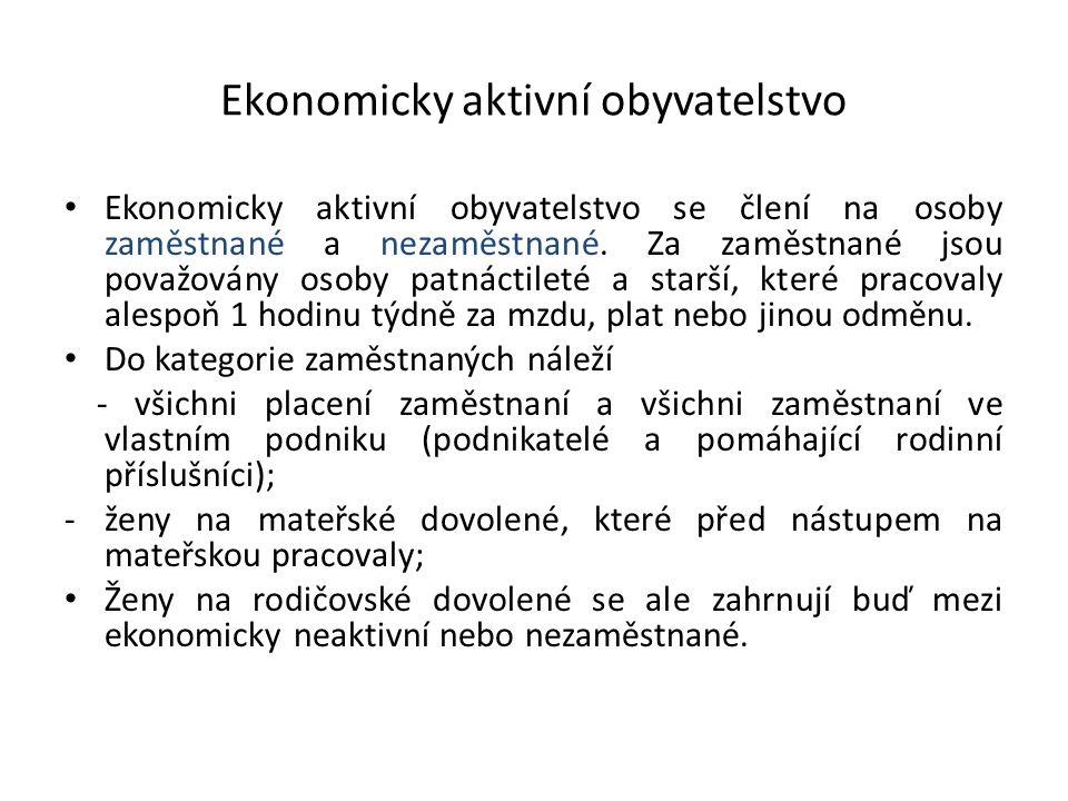 Ekonomicky aktivní obyvatelstvo Ekonomicky aktivní obyvatelstvo se člení na osoby zaměstnané a nezaměstnané. Za zaměstnané jsou považovány osoby patná