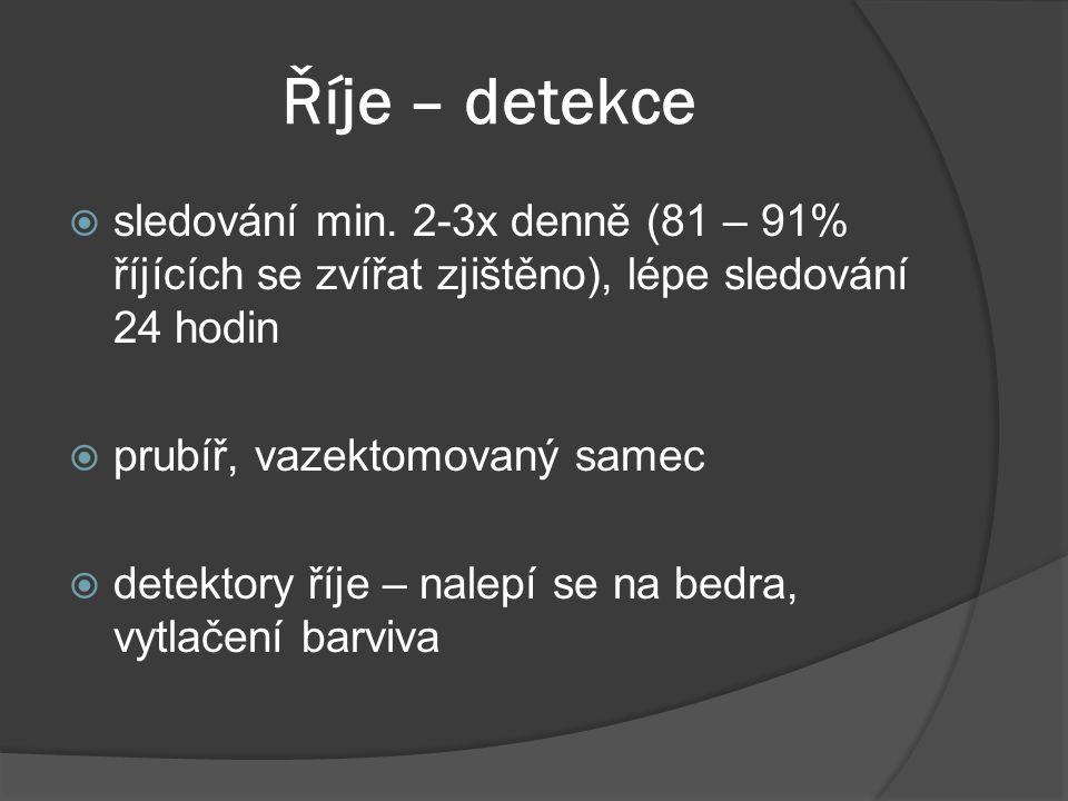Říje – detekce  sledování min. 2-3x denně (81 – 91% říjících se zvířat zjištěno), lépe sledování 24 hodin  prubíř, vazektomovaný samec  detektory ř