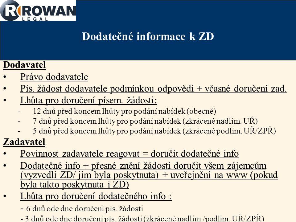 Dodatečné informace k ZD Dodavatel Právo dodavatele Pís.