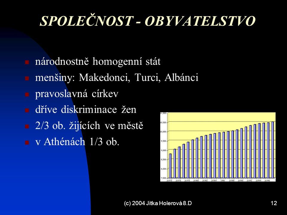 (c) 2004 Jitka Holerová 8.D12 SPOLEČNOST - OBYVATELSTVO národnostně homogenní stát menšiny: Makedonci, Turci, Albánci pravoslavná církev dříve diskrim