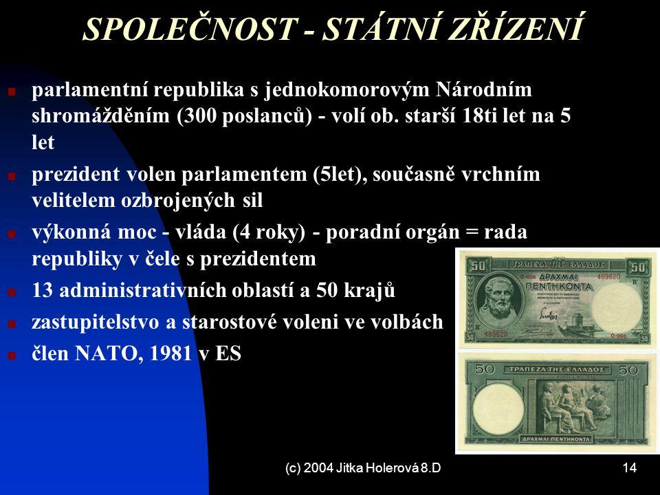 (c) 2004 Jitka Holerová 8.D14 SPOLEČNOST - STÁTNÍ ZŘÍZENÍ parlamentní republika s jednokomorovým Národním shromážděním (300 poslanců) - volí ob. starš