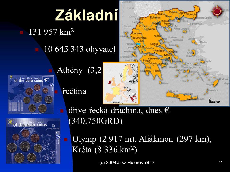 (c) 2004 Jitka Holerová 8.D3 Základní údaje: zemědělstv í a rybolov 15,5%, těžba 1,5%, průmysl 19,5%, stavebnictv í 6,5%, služby 57% (doprava a spoje 17,5, obchod a finančnictv í 15,5%, veřejn á spr á va a obrana 19%) 96% Řekové, 1,5% Makedonci, 0,7% Turci, 0,6% Albánci, 1,2% ostatní pozemní vojsko 113 000, letectvo 26 800, námořnictvo 19 500