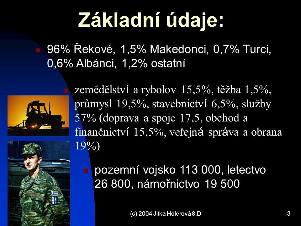 (c) 2004 Jitka Holerová 8.D4 PŘÍRODNÍ POMĚRY - POVRCH nejjižnější část Balkánského poloostrova 15% území tvoří ostrovy v Egejském, Jónském a Krétském moři velmi členité území, vedle Norska nejdelší v Evropě SZ Albánie, S Makedonie a Bulharsko, SV+V Turecko hory (vápencové, značně zkrasovělé) – Z Dinaridy (alpinské vrásnění – pohoří Pindos); V Thácko-Makedonský masív (hercynské vrásnění – Olymp 2917 m – NEJ vrchol v Řecku) řeky Marica, Vardar, Struma, Nestos, Axos