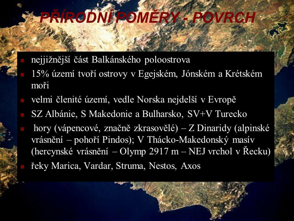 (c) 2004 Jitka Holerová 8.D4 PŘÍRODNÍ POMĚRY - POVRCH nejjižnější část Balkánského poloostrova 15% území tvoří ostrovy v Egejském, Jónském a Krétském