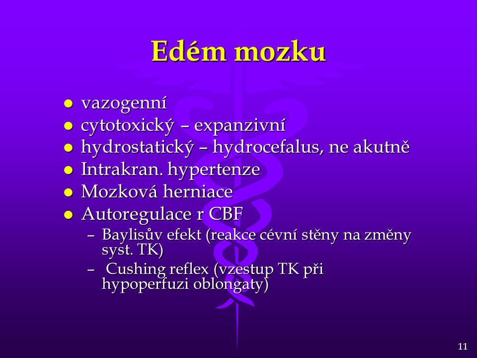 11 Edém mozku l vazogenní l cytotoxický – expanzivní l hydrostatický – hydrocefalus, ne akutně l Intrakran. hypertenze l Mozková herniace l Autoregula