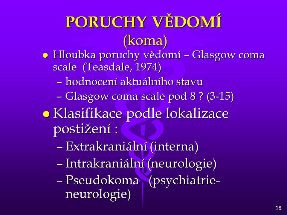 18 PORUCHY VĚDOMÍ (koma) l Hloubka poruchy vědomí – Glasgow coma scale (Teasdale, 1974) –hodnocení aktuálního stavu –Glasgow coma scale pod 8 ? (3-15)