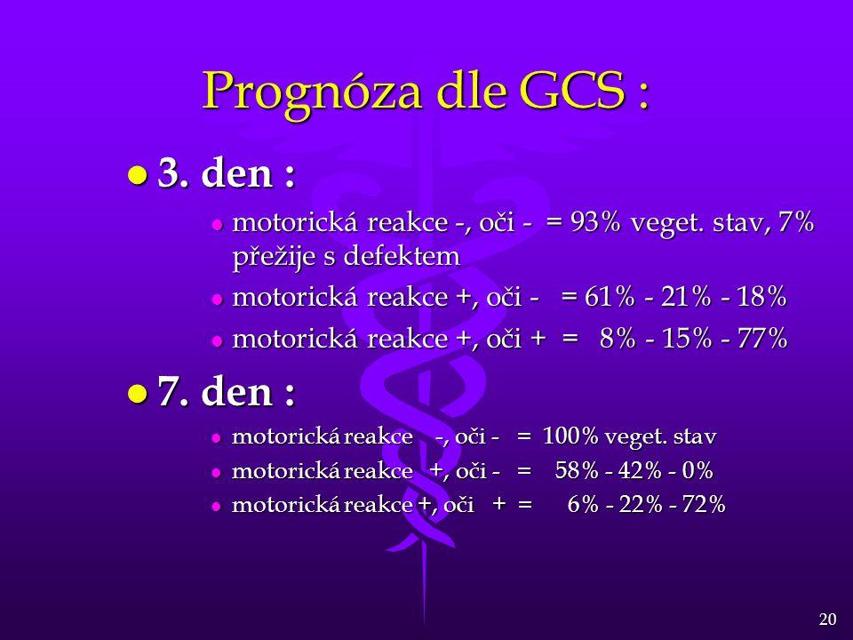 20 Prognóza dle GCS : l 3. den : l motorická reakce -, oči - = 93% veget. stav, 7% přežije s defektem l motorická reakce +, oči - = 61% - 21% - 18% l