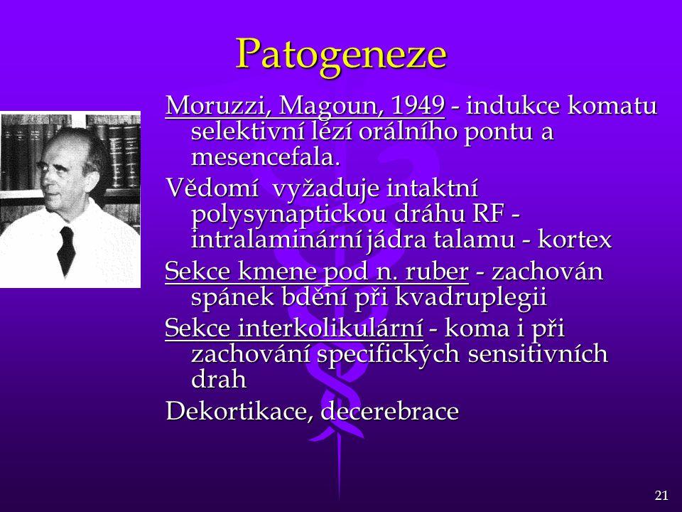 21 Patogeneze Moruzzi, Magoun, 1949 - indukce komatu selektivní lézí orálního pontu a mesencefala. Vědomí vyžaduje intaktní polysynaptickou dráhu RF -