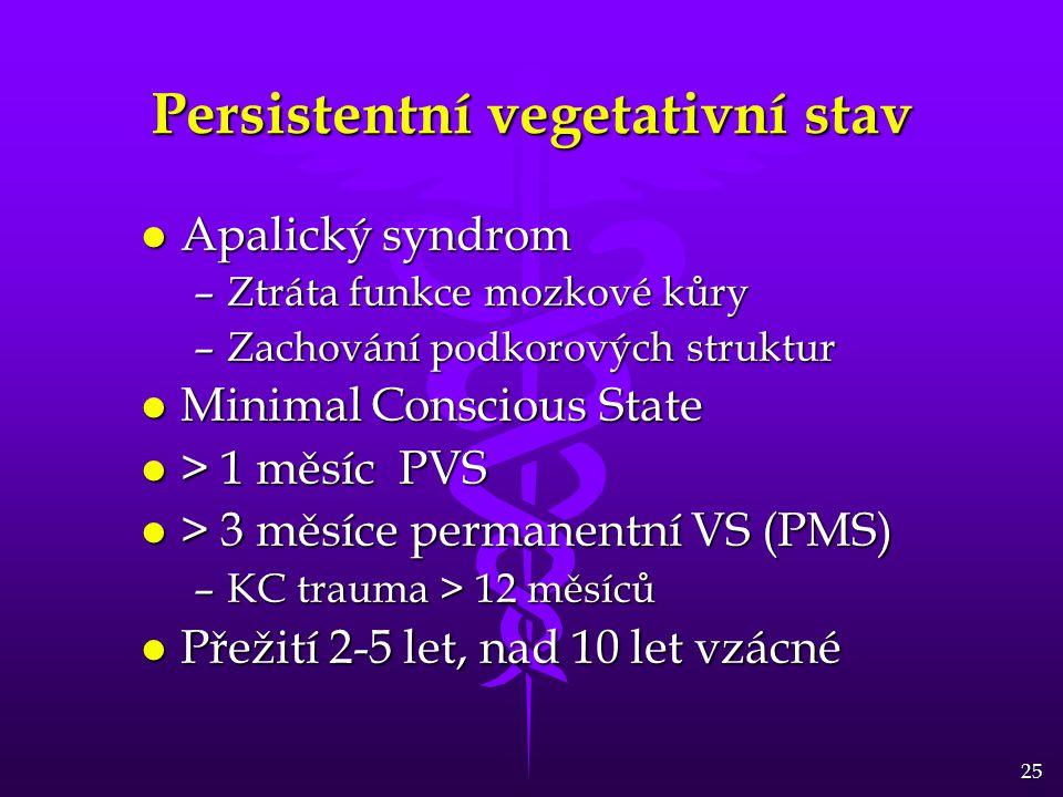 25 Persistentní vegetativní stav l Apalický syndrom –Ztráta funkce mozkové kůry –Zachování podkorových struktur l Minimal Conscious State l > 1 měsíc