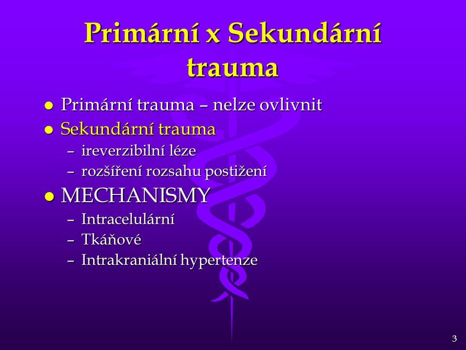 3 Primární x Sekundární trauma l Primární trauma – nelze ovlivnit l Sekundární trauma –ireverzibilní léze –rozšíření rozsahu postižení l MECHANISMY –Intracelulární –Tkáňové –Intrakraniální hypertenze