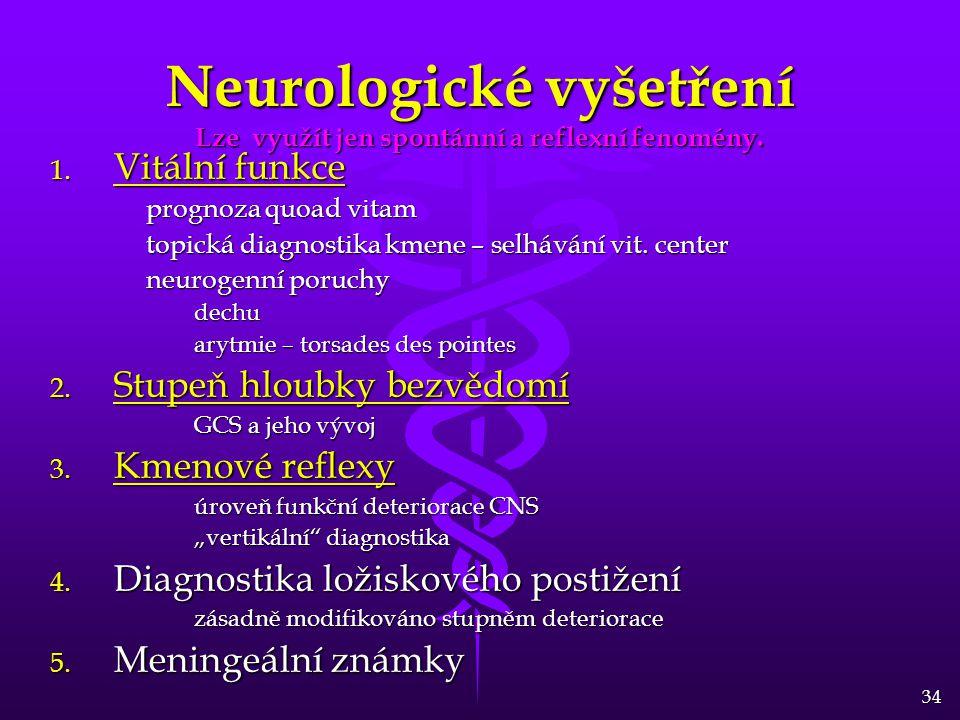 34 Neurologické vyšetření Lze využít jen spontánní a reflexní fenomény. 1. Vitální funkce prognoza quoad vitam topická diagnostika kmene – selhávání v