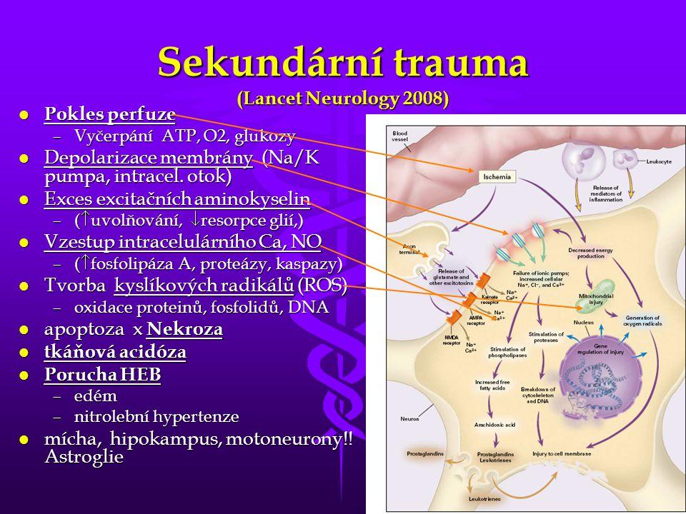 4 Sekundární trauma (Lancet Neurology 2008) l Pokles perfuze –Vyčerpání ATP, O2, glukozy l Depolarizace membrány (Na/K pumpa, intracel. otok) l Exces