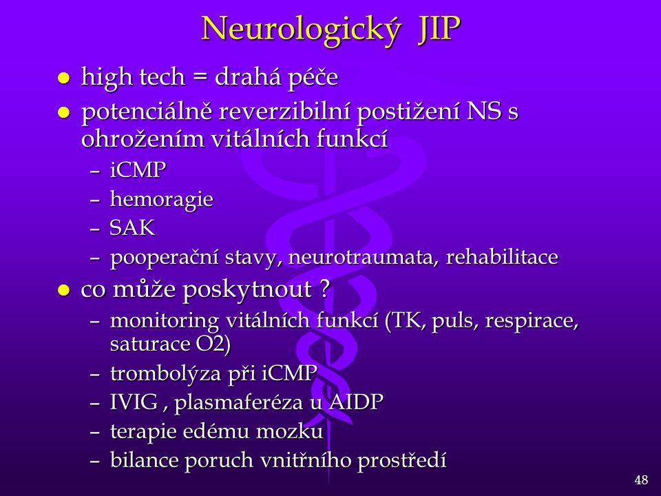 48 Neurologický JIP l high tech = drahá péče l potenciálně reverzibilní postižení NS s ohrožením vitálních funkcí –iCMP –hemoragie –SAK –pooperační stavy, neurotraumata, rehabilitace l co může poskytnout .