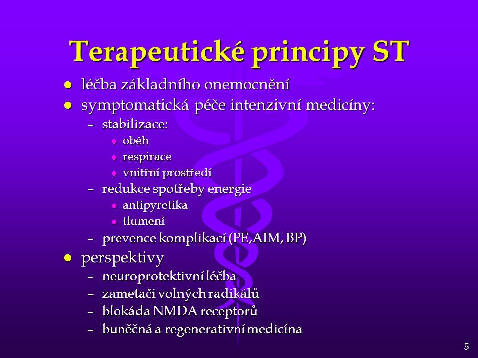 5 Terapeutické principy ST l léčba základního onemocnění l symptomatická péče intenzivní medicíny: –stabilizace: l oběh l respirace l vnitřní prostředí –redukce spotřeby energie l antipyretika l tlumení –prevence komplikací (PE,AIM, BP) l perspektivy –neuroprotektivní léčba –zametači volných radikálů –blokáda NMDA receptorů –buněčná a regenerativní medicína