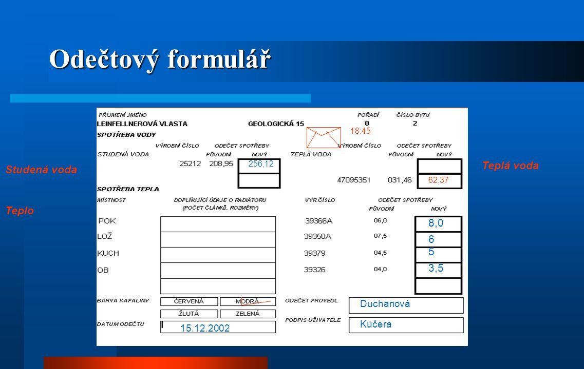Součtový formulář Chvátal Jan 15.12.2002 Chvátal Jan Geologická 13, část 15