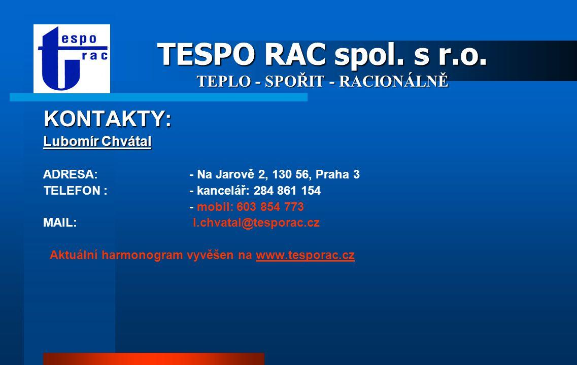 TESPO RAC spol. s r.o. TEPLO - SPOŘIT - RACIONÁLNĚ SPEKTRUM ČINNOSTI: měření a regulace tepla a vody instalatérské a topenářské práce správa nemovitos