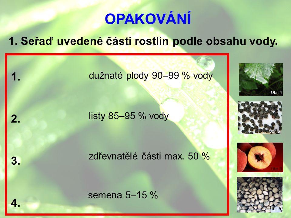 OPAKOVÁNÍ 1. Seřaď uvedené části rostlin podle obsahu vody. 1. 2. 3. 4. dužnaté plody 90–99 % vody listy 85–95 % vody zdřevnatělé části max. 50 % seme