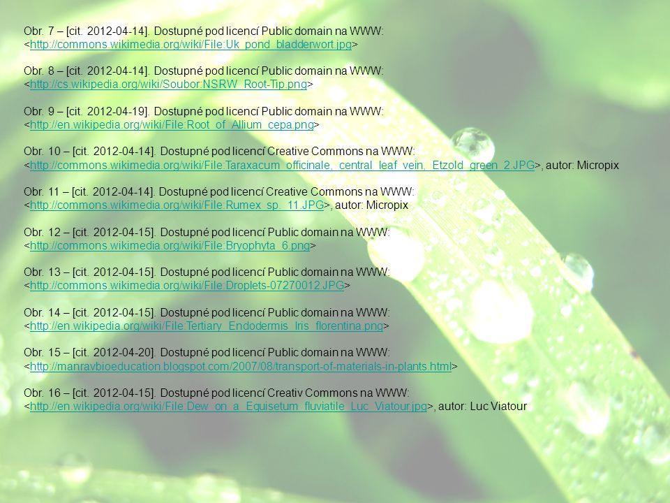 Obr. 7 – [cit. 2012-04-14]. Dostupné pod licencí Public domain na WWW: http://commons.wikimedia.org/wiki/File:Uk_pond_bladderwort.jpg Obr. 8 – [cit. 2