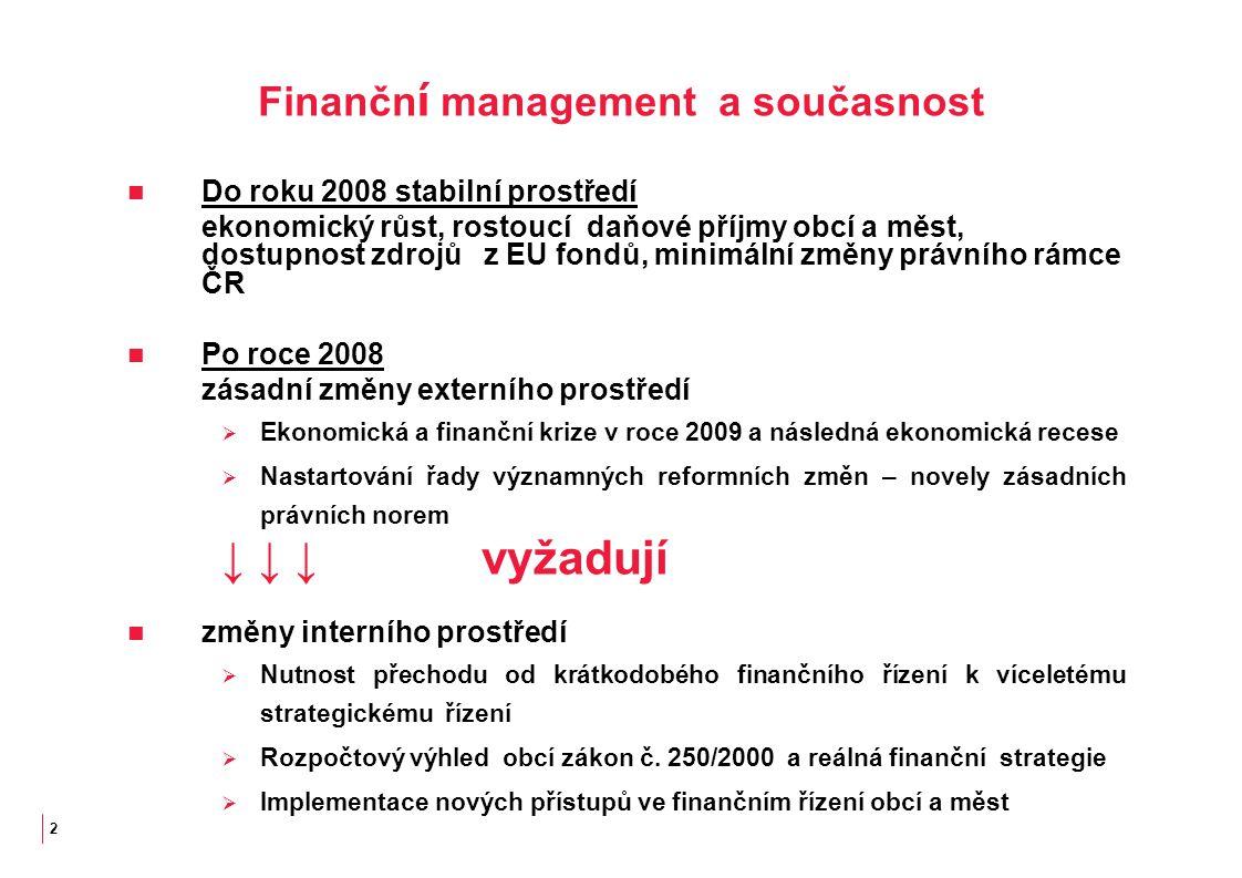 2 Finančn í management a současnost Do roku 2008 stabilní prostředí ekonomický růst, rostoucí daňové příjmy obcí a měst, dostupnost zdrojů z EU fondů, minimální změny právního rámce ČR Po roce 2008 zásadní změny externího prostředí  Ekonomická a finanční krize v roce 2009 a následná ekonomická recese  Nastartování řady významných reformních změn – novely zásadních právních norem ↓ ↓ ↓vyžadují změny interního prostředí  Nutnost přechodu od krátkodobého finančního řízení k víceletému strategickému řízení  Rozpočtový výhled obcí zákon č.