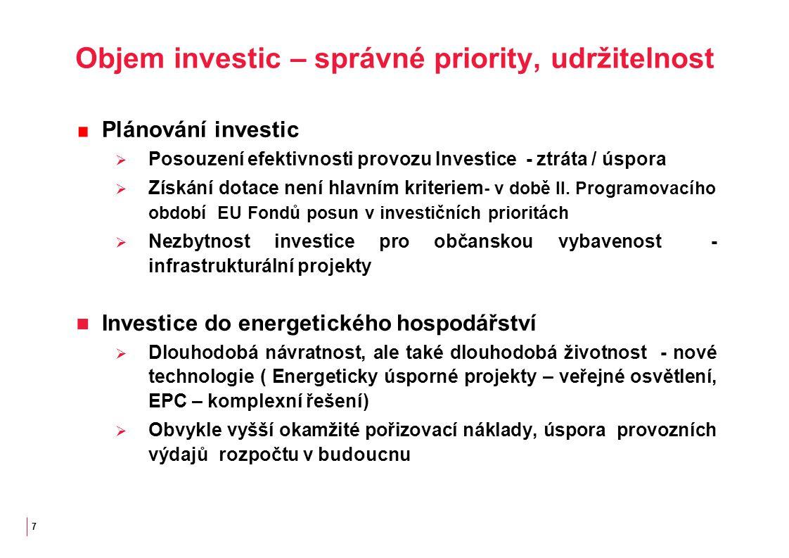7 Objem investic – správné priority, udržitelnost Plánování investic  Posouzení efektivnosti provozu Investice - ztráta / úspora  Získání dotace není hlavním kriteriem - v době II.