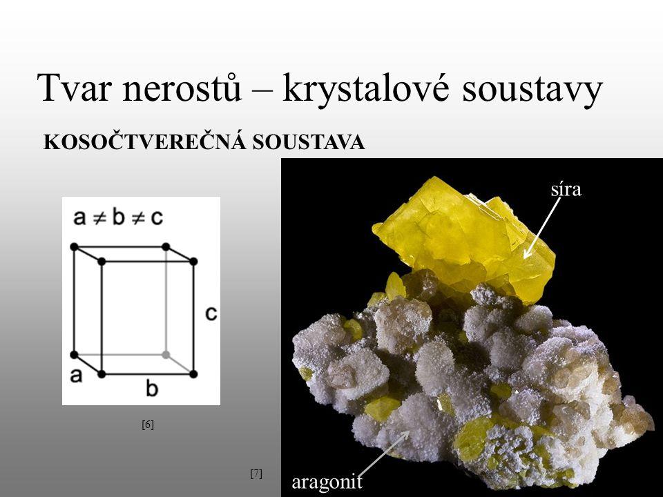 Tvar nerostů – krystalové soustavy KOSOČTVEREČNÁ SOUSTAVA aragonit [6][6] síra [7][7]