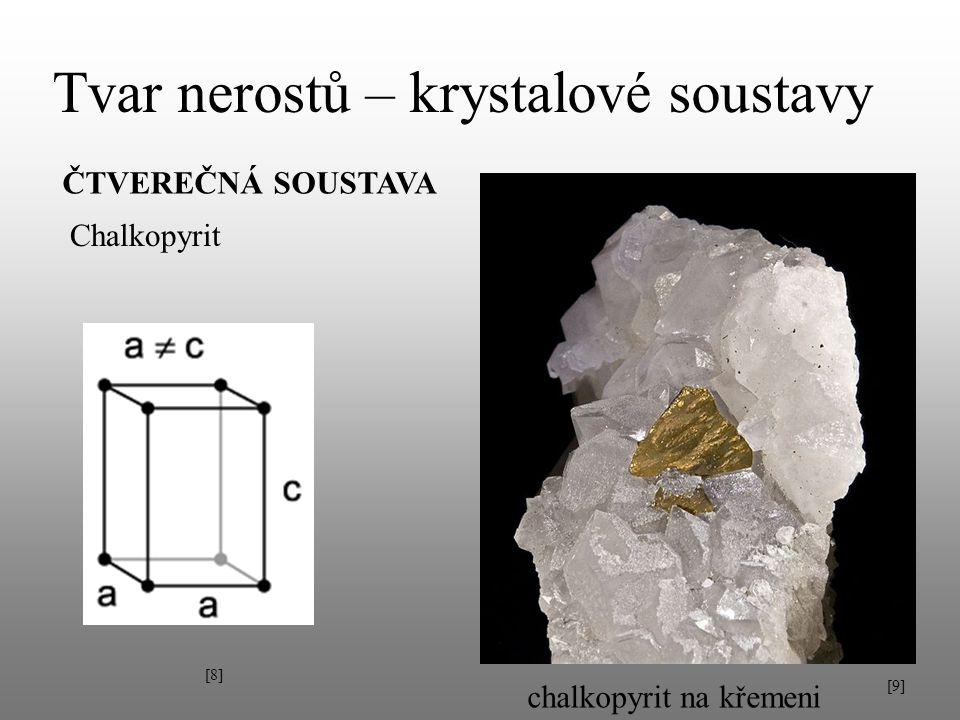 Tvar nerostů – krystalové soustavy ČTVEREČNÁ SOUSTAVA Chalkopyrit [8][8] chalkopyrit na křemeni [9][9]