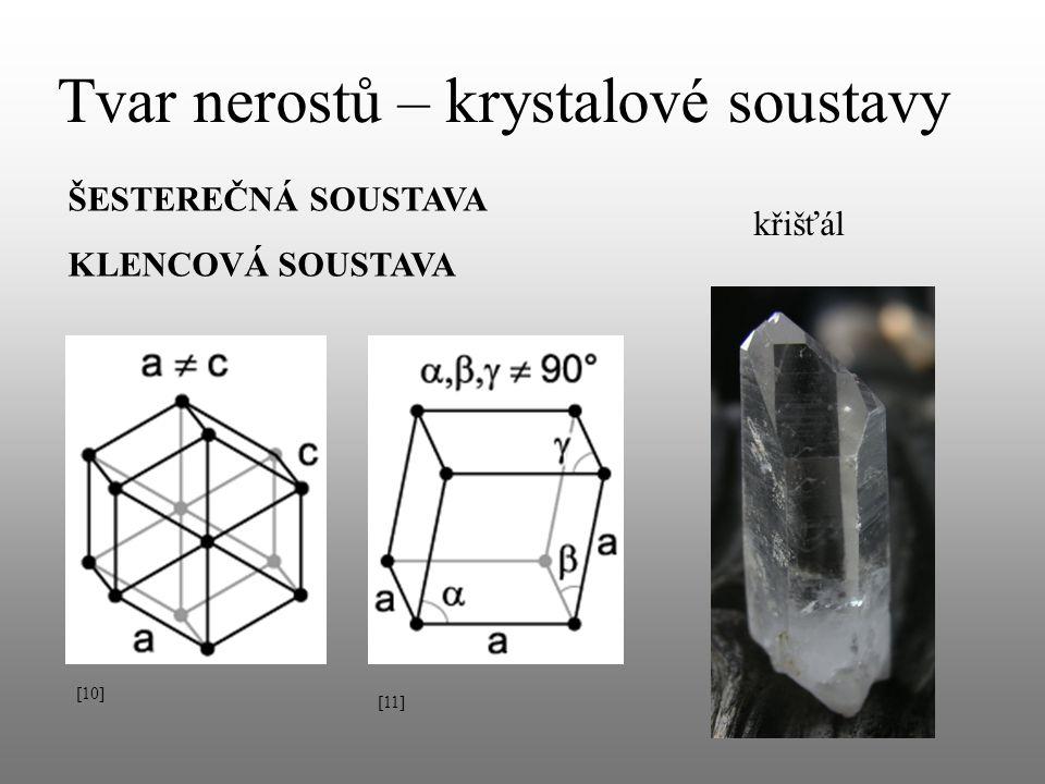 Tvar nerostů – krystalové soustavy ŠESTEREČNÁ SOUSTAVA křišťál KLENCOVÁ SOUSTAVA [10] [11]