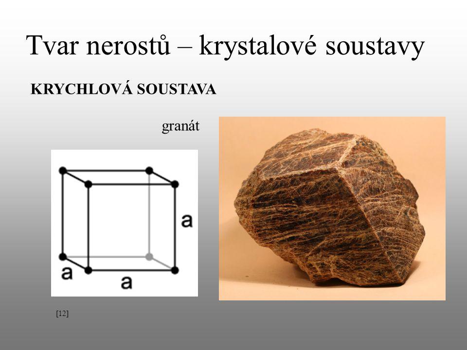 Tvar nerostů – krystalové soustavy KRYCHLOVÁ SOUSTAVA granát [12]