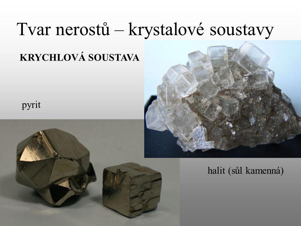 Tvar nerostů – krystalové soustavy KRYCHLOVÁ SOUSTAVA pyrit halit (sůl kamenná)