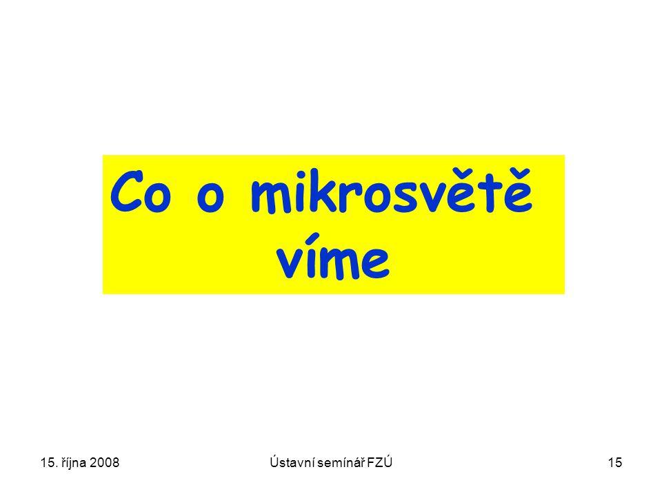 15. října 2008Ústavní semínář FZÚ15 Co o mikrosvětě víme