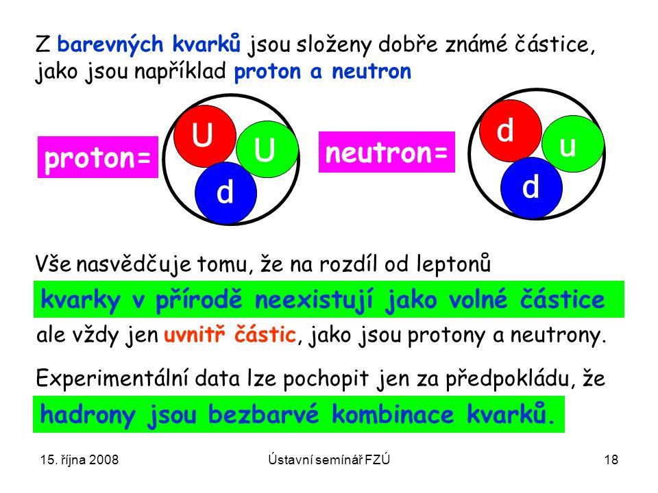 15. října 2008Ústavní semínář FZÚ18 Z barevných kvarků jsou složeny dobře známé částice, jako jsou například proton a neutron U U d proton= neutron= d
