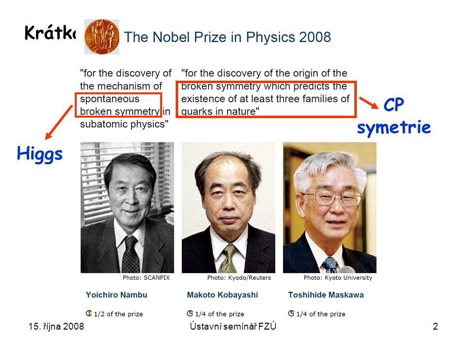 15. října 2008Ústavní semínář FZÚ2 Krátká odbočka Higgs CP symetrie