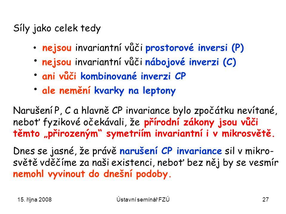 15. října 2008Ústavní semínář FZÚ27 nejsou invariantní vůči prostorové inversi (P) nejsou invariantní vůči nábojové inverzi (C) ani vůči kombinované i